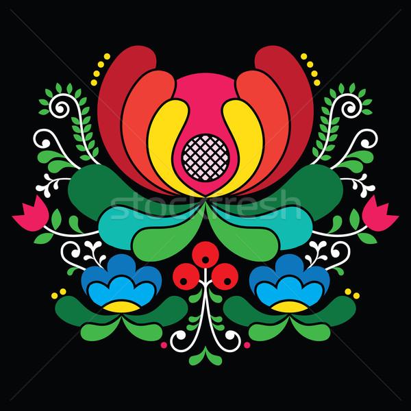 Norwegian folk art pattern - Rosemaling style embroidery on black Stock photo © RedKoala