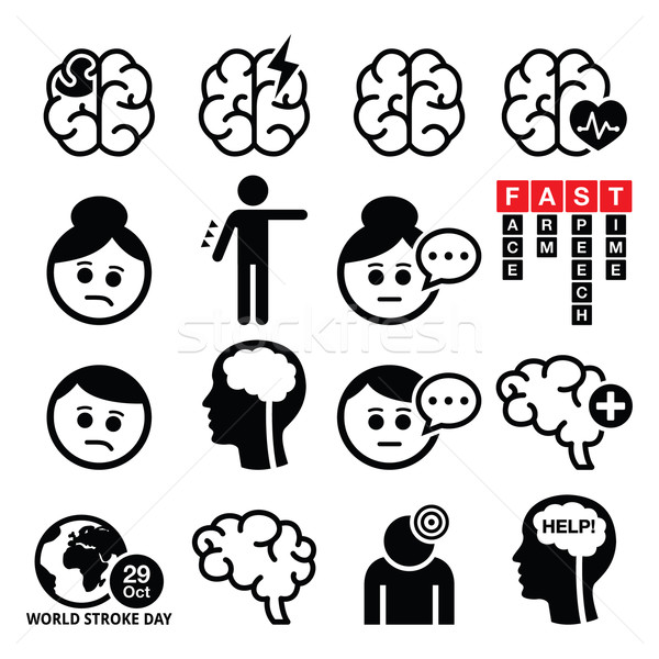 Agy ikonok agysérülés agysérülés emberek szenvedés Stock fotó © RedKoala