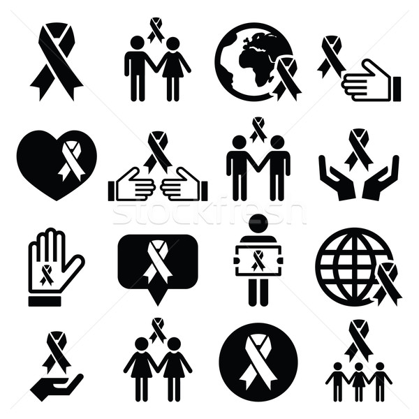 Awareness ribbons with people - black vector icons set  Stock photo © RedKoala