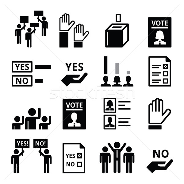 Democracy, voting, politics vector icon set Stock photo © RedKoala