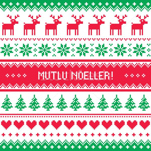 Merry Christmas in Turkish - Mutlu Noeller pattern  Stock photo © RedKoala