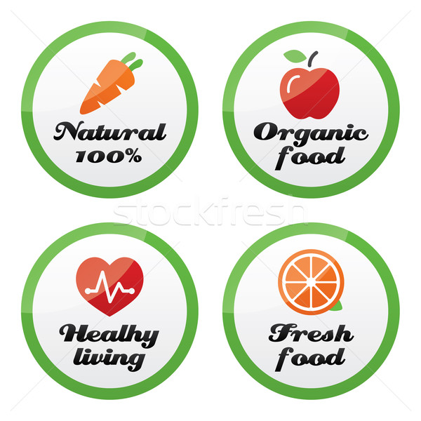 Organic food, fresh and natural products icons on green buttons  Stock photo © RedKoala