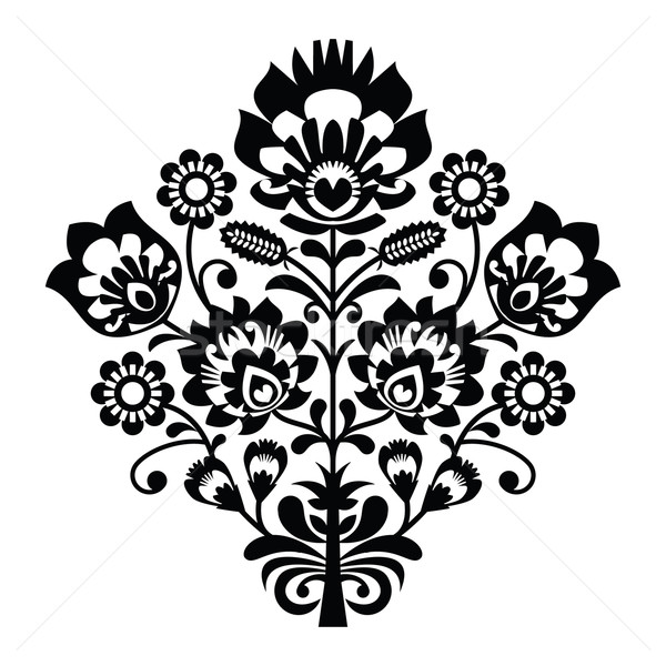 Traditional polish folk pattern in black and white Stock photo © RedKoala