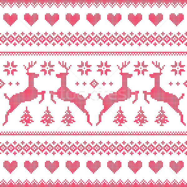 Winter, Christmas red seamless pixelated pattern with deer and hearts Stock photo © RedKoala