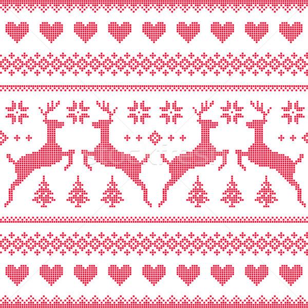 Stockfoto: Winter · christmas · Rood · naadloos · patroon