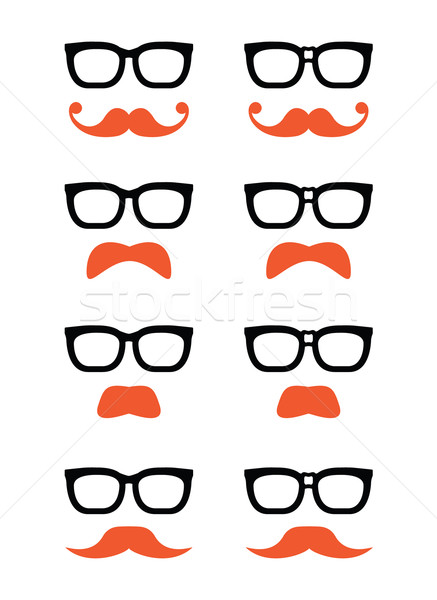 Geek glasses and ginger moustache or mustache vector icons Stock photo © RedKoala