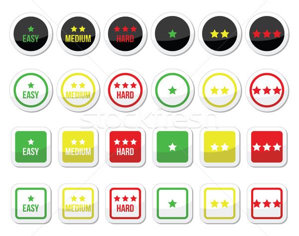 Easy, medium, hard level with stars icons set Stock photo © RedKoala