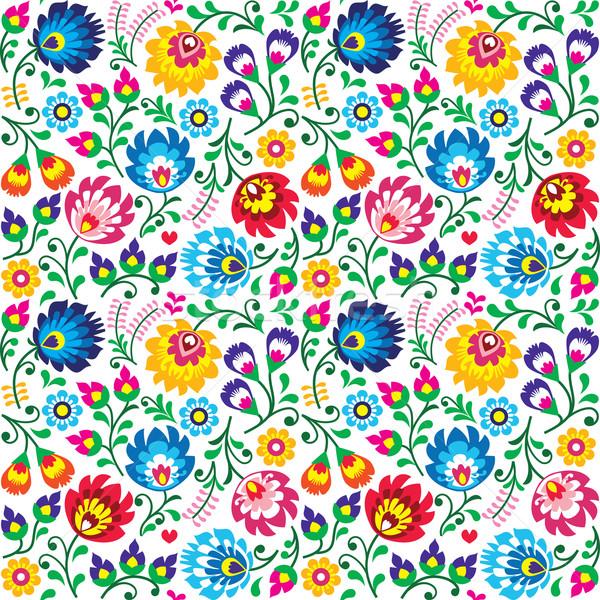 Seamless Polish folk art floral pattern - wzory lowickie, wycinanki Stock photo © RedKoala