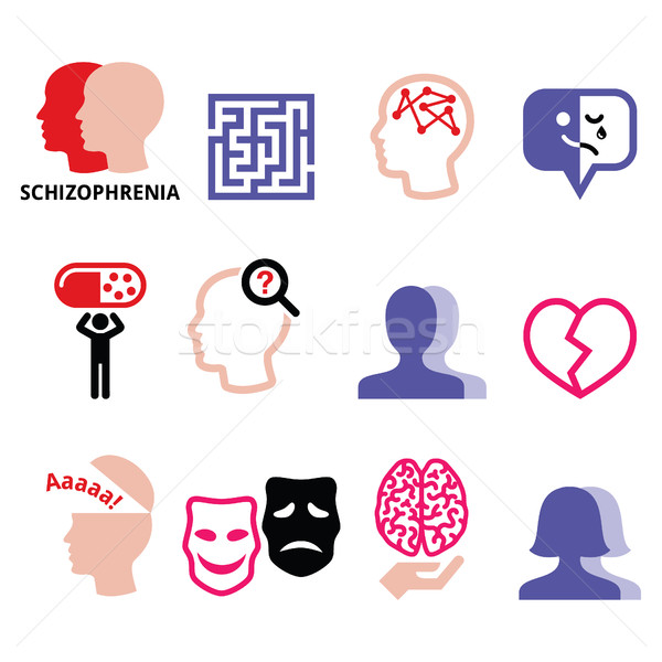 Schizophrenia, mental health, psychology vector icons set   Stock photo © RedKoala