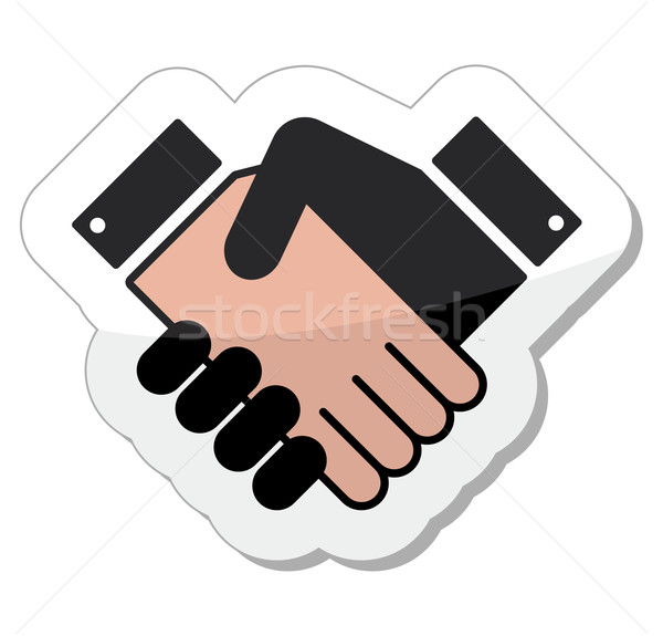 Agreement handshake icon - label Stock photo © RedKoala