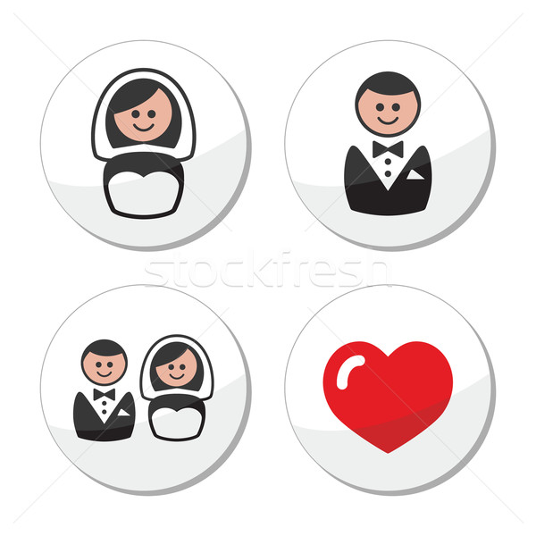 Groom and bride on round white labels Stock photo © RedKoala