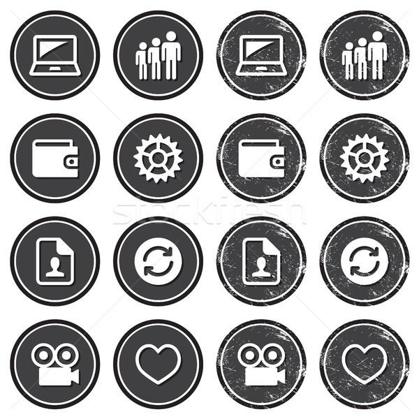Stockfoto: Web · navigatie · iconen · retro · ingesteld