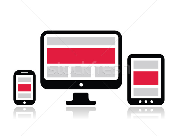 Responsive design for web - computer screen, smartphone, tablet icons set Stock photo © RedKoala