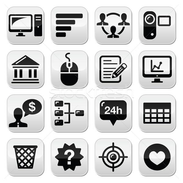 Website menu navigation black vector buttons set Stock photo © RedKoala