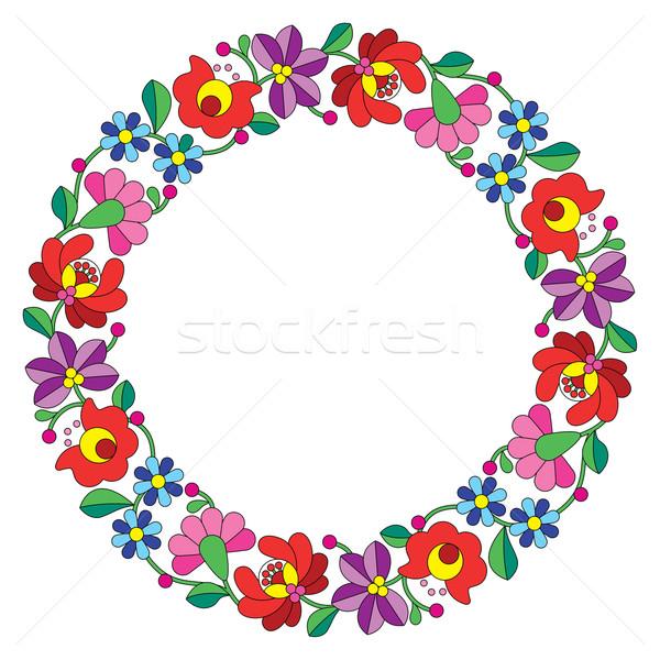 Kalocsai embroidery in circle - Hungarian floral folk pattern Stock photo © RedKoala