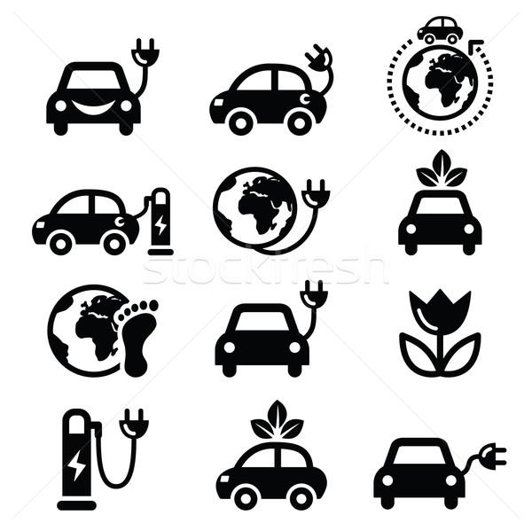 Elektrische auto groene eco vervoer vector Stockfoto © RedKoala