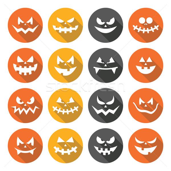 Scary Halloween pumpkin faces flat design icons set Stock photo © RedKoala