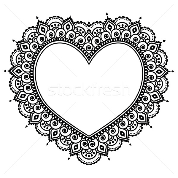 Heart Mehndi design, Indian Henna tattoo pattern - love concept Stock photo © RedKoala