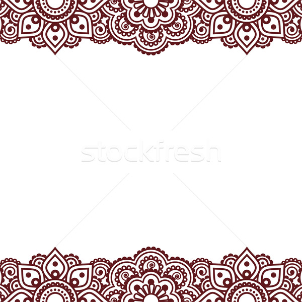 Mehndi, Indian Henna tattoo brown greetings card Stock photo © RedKoala