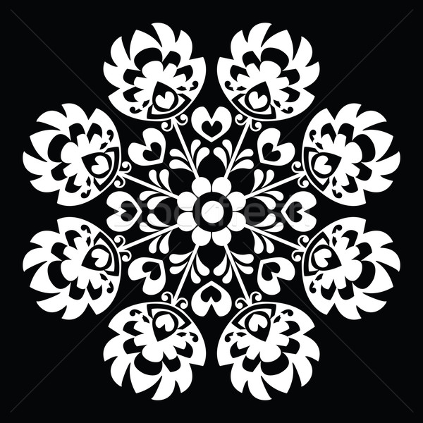 Polish round white folk art pattern - Wzory Lowickie, Wycinanka  Stock photo © RedKoala