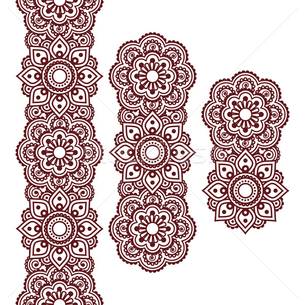 Mehndi, Indian Henna brown tattoo long pattern, design elements   Stock photo © RedKoala