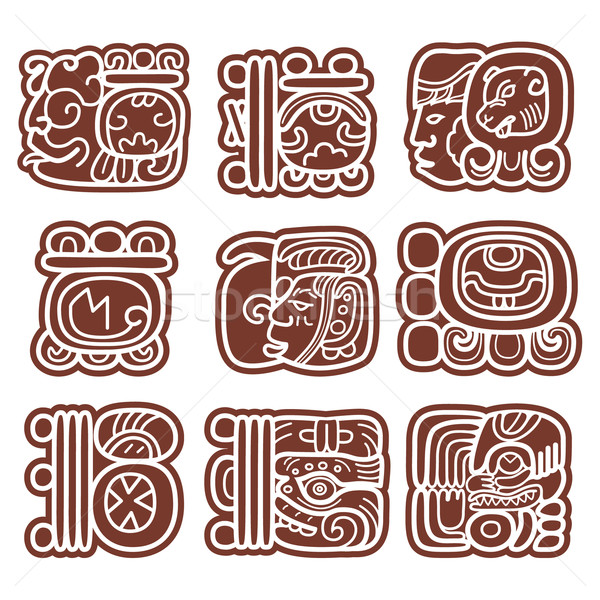 Mayan glyphs, writing system and languge vector design     Stock photo © RedKoala