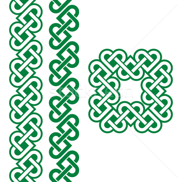 Kelta zöld ír fonatok minták vektor Stock fotó © RedKoala
