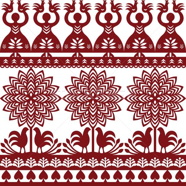 Seamless Polish folk art pattern Wycinanki Kurpiowskie - Kurpie Papercuts Stock photo © RedKoala