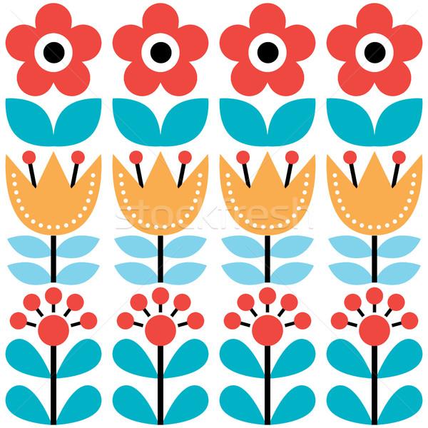 Scandinavian seamless pattern, Swedish folk art design, retro floral background  Stock photo © RedKoala
