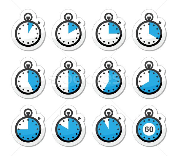 Time, clock, stopwatch vector icons set Stock photo © RedKoala