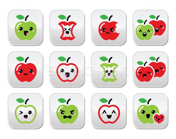 Cute manzana roja verde manzana kawaii botones Foto stock © RedKoala