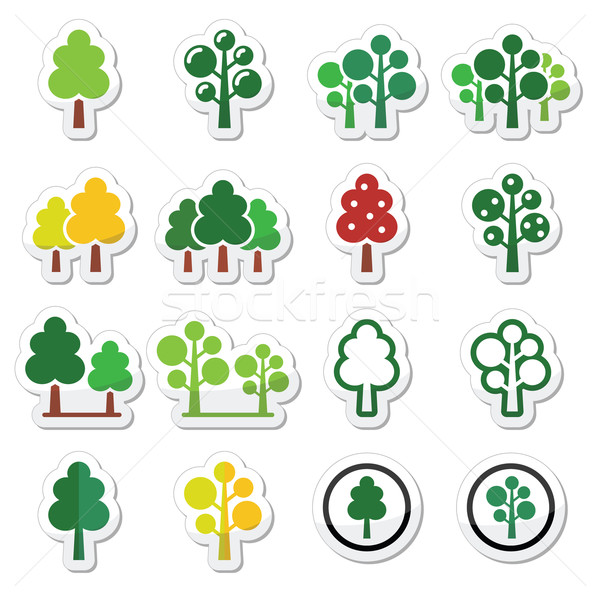 Trees, forest, park vector icons set  Stock photo © RedKoala