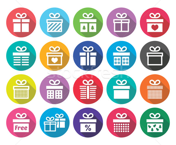 Present, gift box vector flat design icons set Stock photo © RedKoala