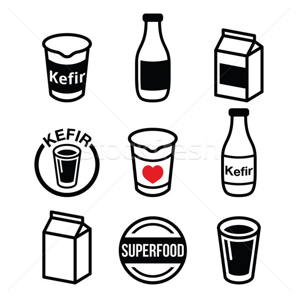 Kefir or kephir, fermented milk product, superfood icons set  Stock photo © RedKoala