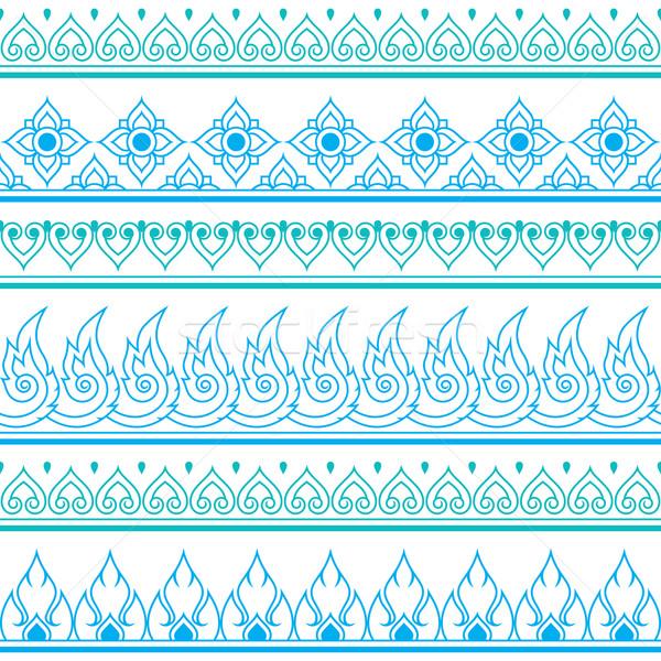 Seamless blue Thai pattern, repetitive design from Thailand - folk art style Stock photo © RedKoala