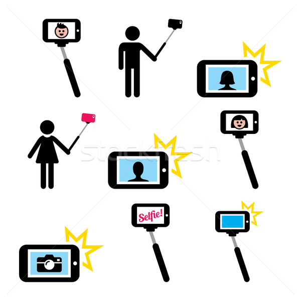 Selfie stick with mobile or cell phone icons set  Stock photo © RedKoala