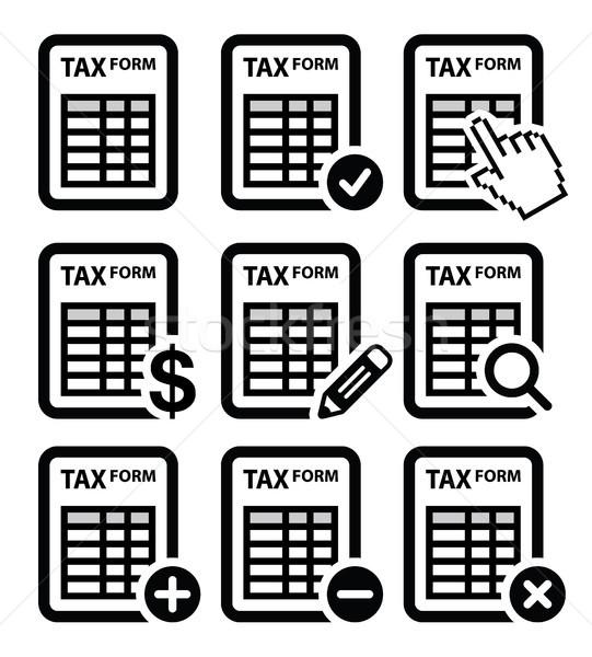 Tax form, taxation, finance vector icons set Stock photo © RedKoala