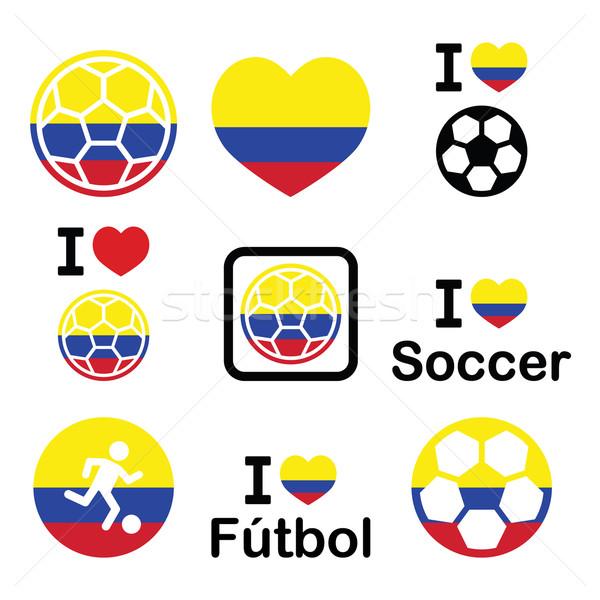 I love Colombian football, soccer icons set Stock photo © RedKoala