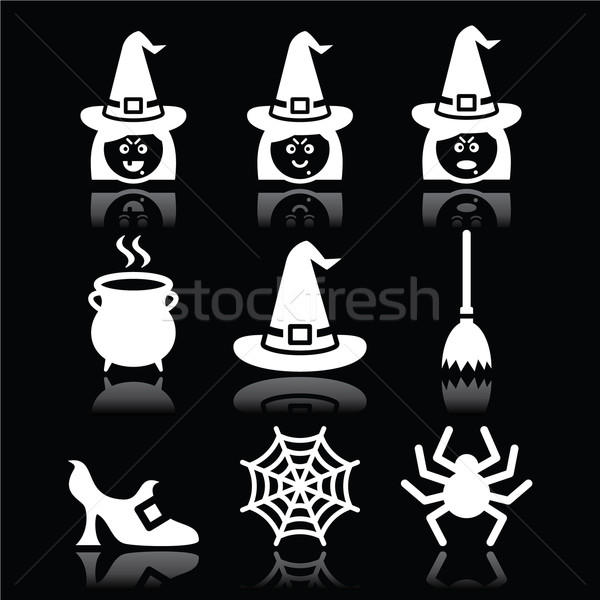 Witch Halloween vector icons set on black Stock photo © RedKoala