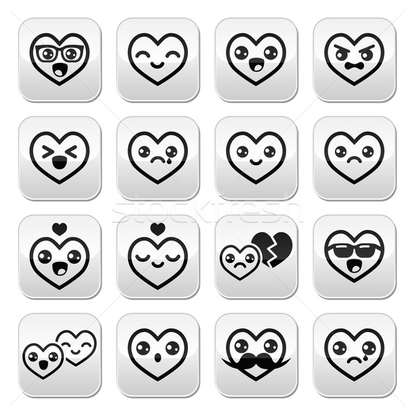 Kawaii hearts, Valentine's Day cute vector buttons set  Stock photo © RedKoala