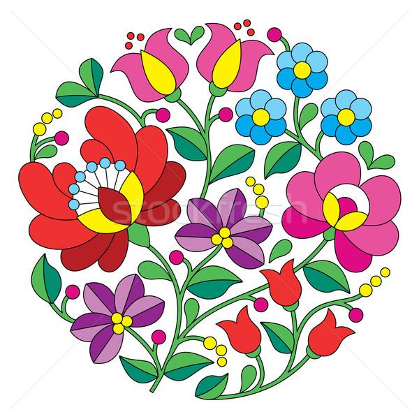 Kalocsai embroidery - Hungarian round floral folk pattern Stock photo © RedKoala