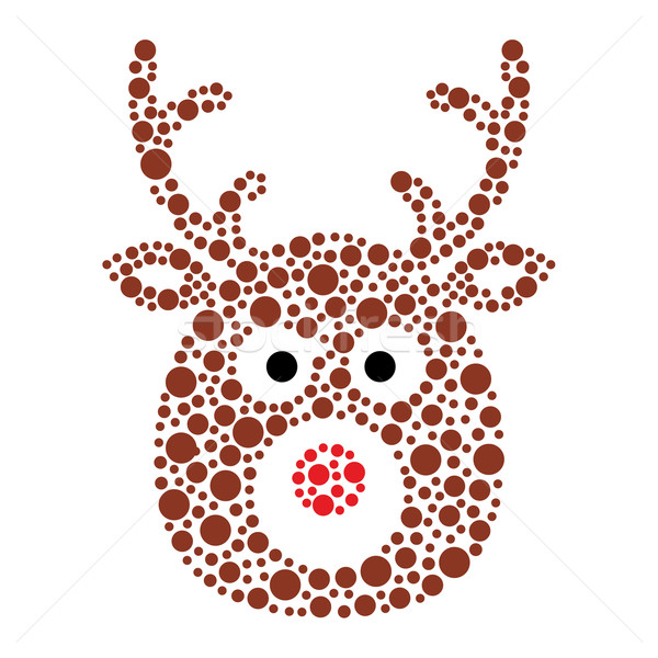 Christmas reindeer rudolf icon made of circles Stock photo © RedKoala
