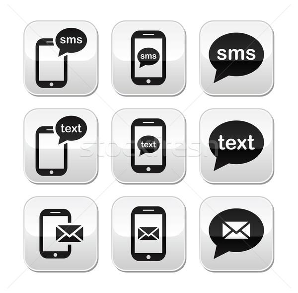 ストックフォト: 携帯 · sms · メール · ボタン · セット