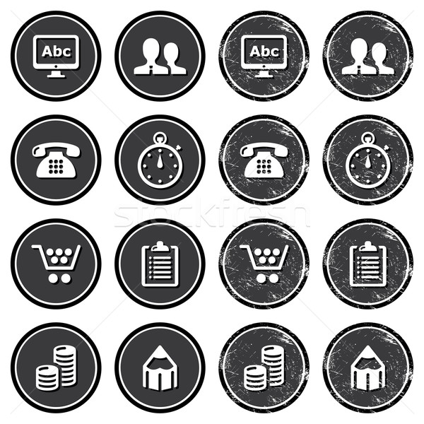 Website navigation icons on retro labels set Stock photo © RedKoala
