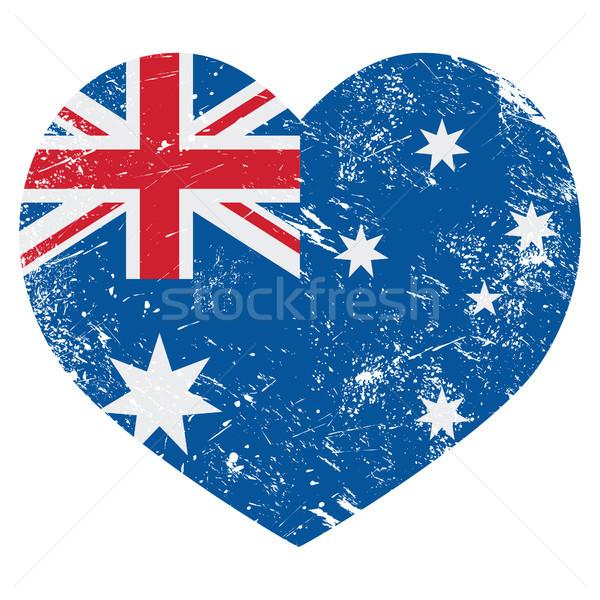 Austrália retro coração bandeira australiano vintage Foto stock © RedKoala