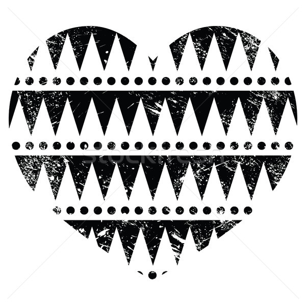 Aztec tribal pattern heart - retro, grunge style Stock photo © RedKoala