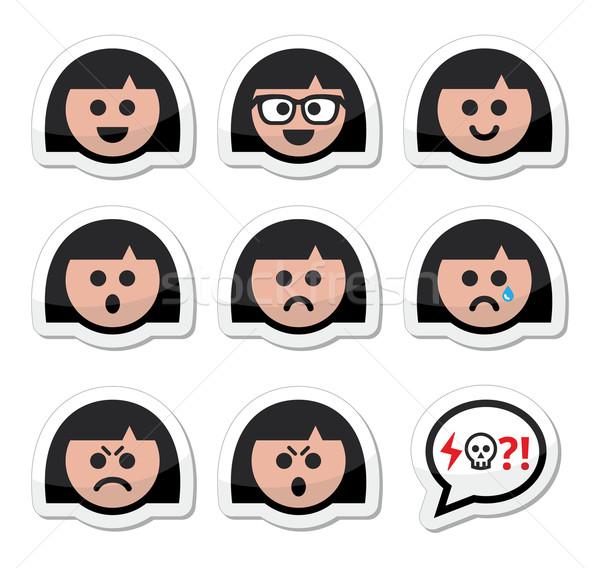 Girl or woman faces, avatar vector icons set Stock photo © RedKoala
