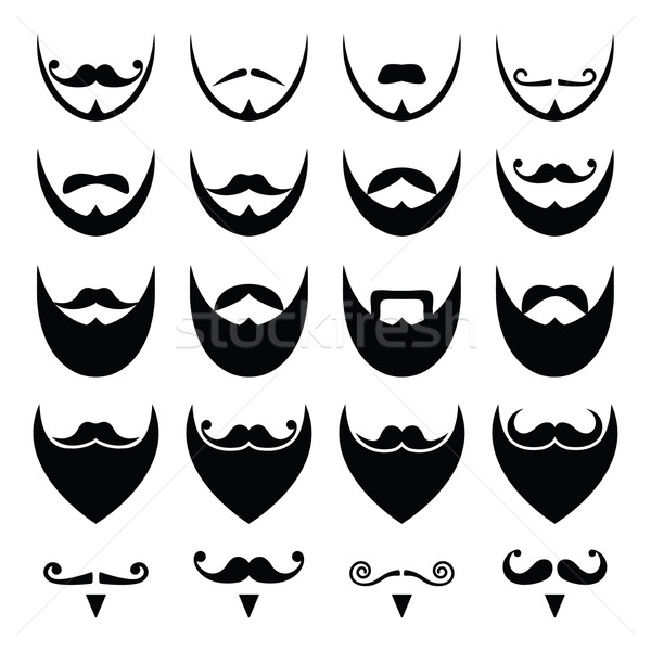 Photo stock: Barbe · moustache · moustache · vecteur · différent