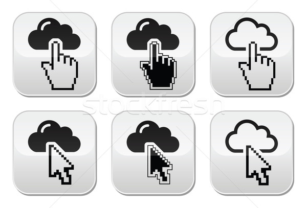 Cloud with cursor hand and arrow buttons set Stock photo © RedKoala