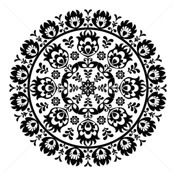 Polish folk art pattern in circle - wzory lowickie, wycinanki  Stock photo © RedKoala